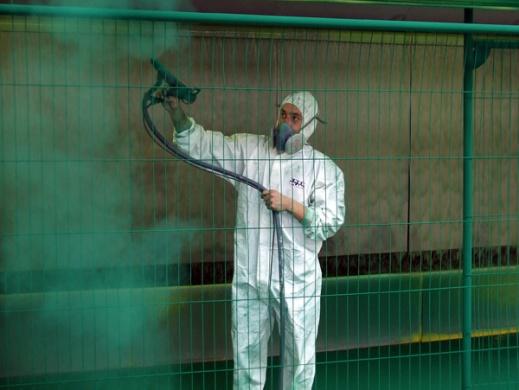 demonstration of powder coating